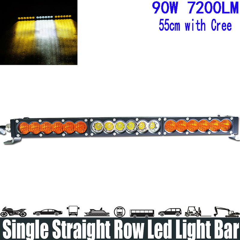 90W 19 White Amber Yellow Single Row Led Light Bar Spot/Flood/Combo Beam Super Bright Barra De Led Bar Light Headlight Fog 24v 12v led light auto headlamp h1 h3 h7 9005 9004 9007 h4 h15 car led headlight bulb 30w high single dual beam white light