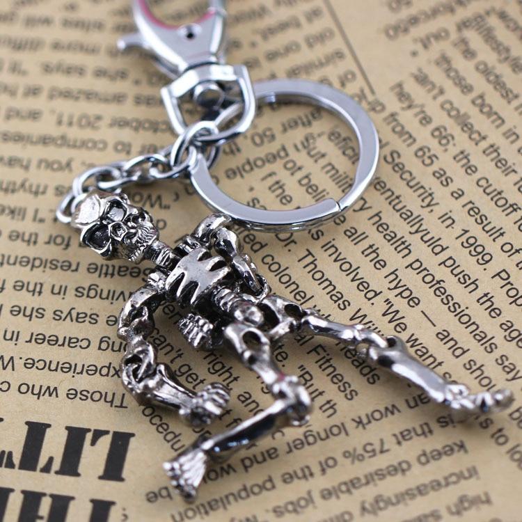 skelet nøglering nøgleringe kraniet nøglekæde nøgleholder kreativ sleutelhanger chaveiro portachiavi llaveros hombre gratis forsendelse