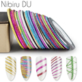 12 шт. полосатая лента, линия, наклейка для ногтей, Русалка, скраб, красочный дизайн, наклейки для ногтей, украшения для ногтей