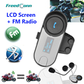 Nova Versão Atualizada!! Motocicleta BT Bluetooth Multi Interphone Fone de Ouvido do Capacete Intercom com tela LCD + Rádio FM