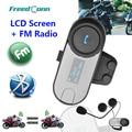 Nueva Versión Actualizada!! Moto de la motocicleta BT Bluetooth Headset Multi Interphone Del Intercomunicador Del Casco con pantalla LCD + Radio FM