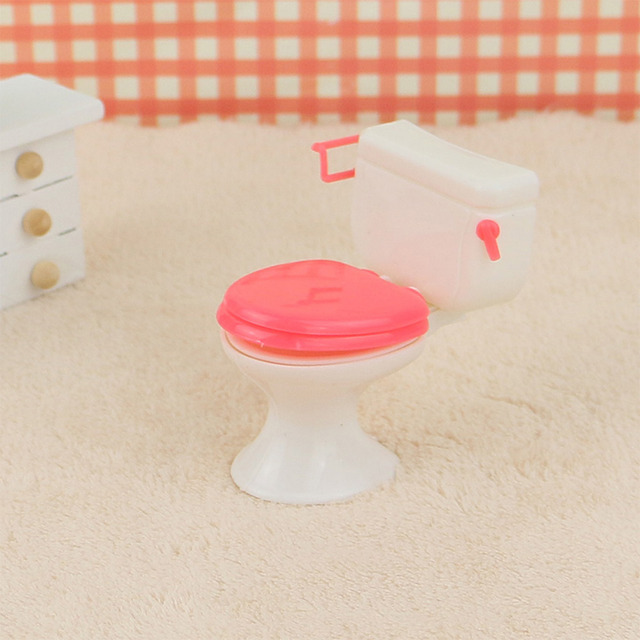 Bathroom Furniture Accessories Plastic Toilet and Sink Set for Doll's House for Barbie Dolls Furniture Accessories for Barbie