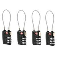 4 шт. TSA утвержден кабель Чемодан замок с доставкой в течение 3-цифра Комбинации подвесной замок с паролем (черный)