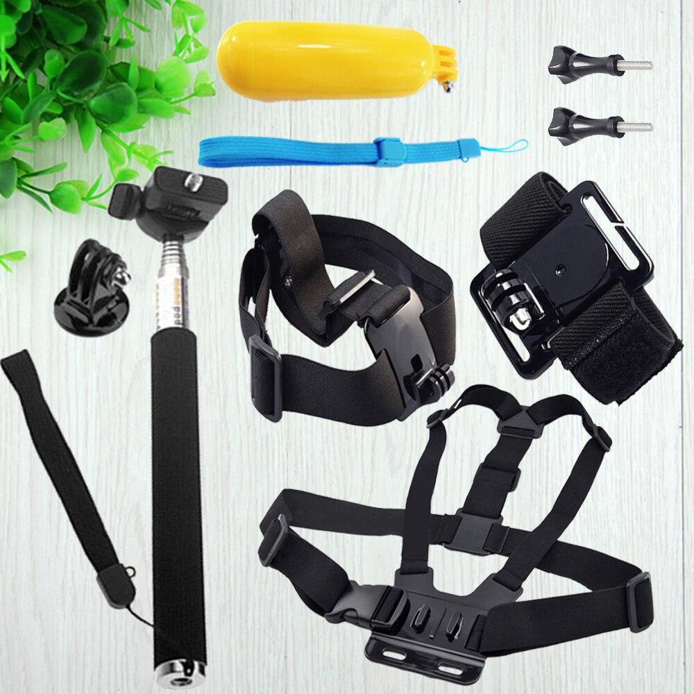 Per GOPRO Hero4 3 2 SJCAM SJ4000 SJ5000 SJ6000 Xiaoyi Mi fotocamera GO Pro Accessorio Mount Petto Head Strap Selfie Stick Pole Bobber