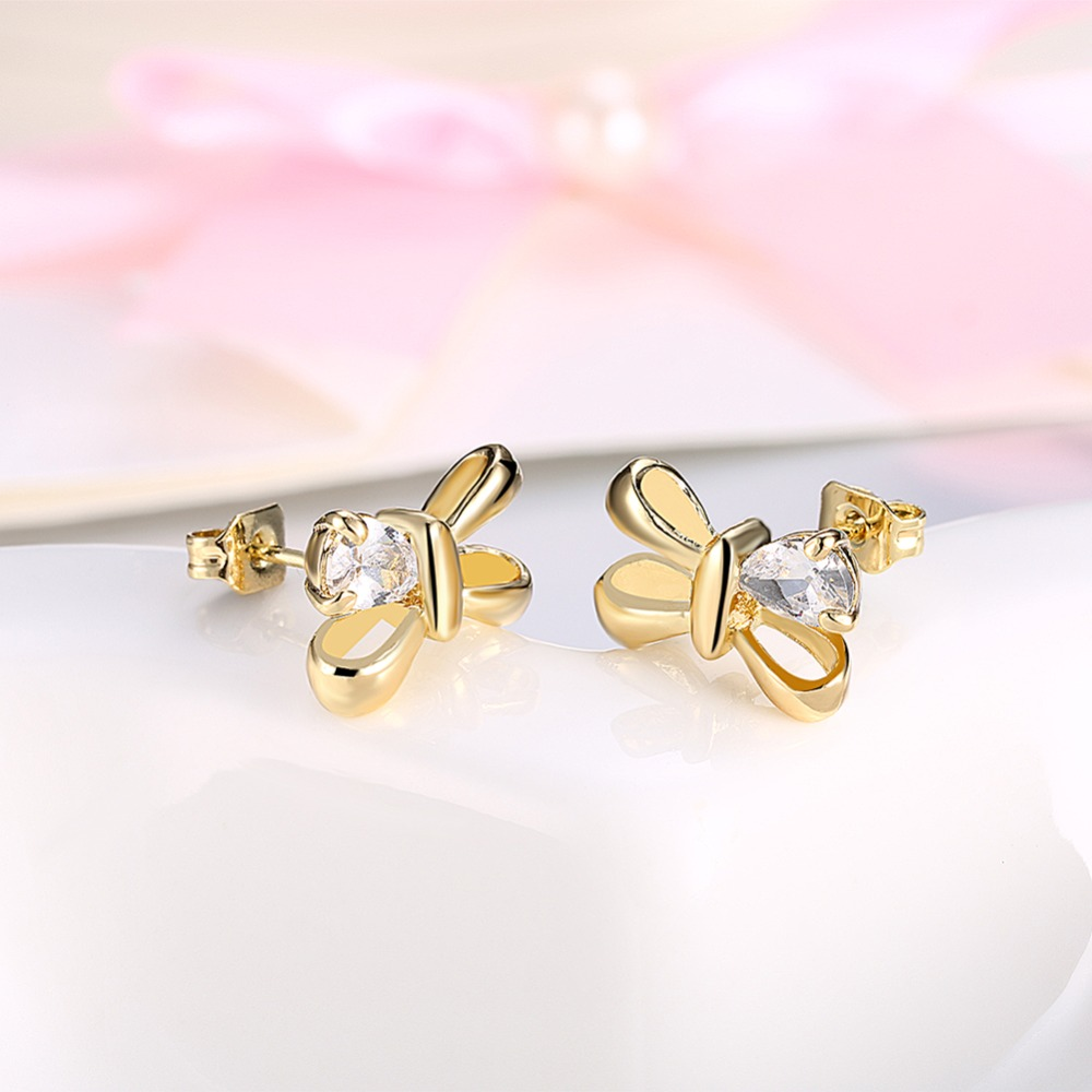 Visisap Beautiful Bow Earring Clear Stone Gold Color Stud Earrings For Women Wholesale Female Vingate Jewellery Brincos VAKE188