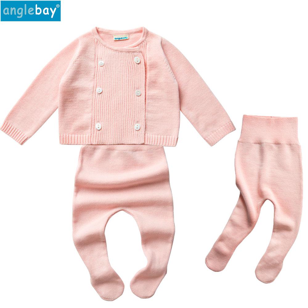 Anglebay Baby Girls Clothing Set Newborn Baby Boy Clothes Winter Cardigan for Girls Knitwear Long Sleeve Newborn Top and Pants 2pcs set baby clothes set boy