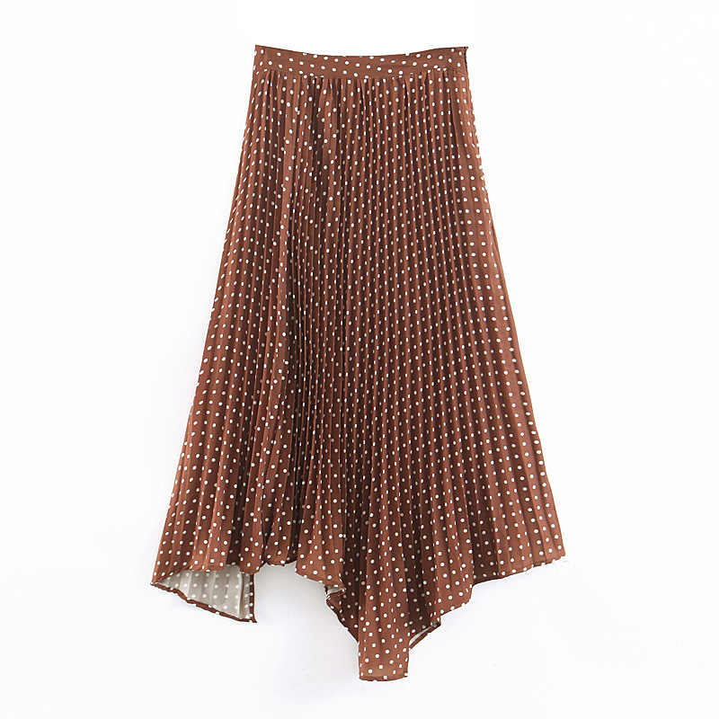 Polka Dot Printed Skirts Womens Pleated Long Summer Skirt Women Elegant Irregular Midi Skirts Female A Line Skirt Ladies EG15