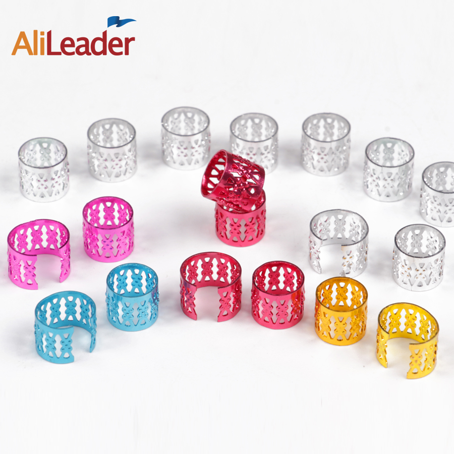 (100Pcs + 5Pcs Free) Silver Golden Plated Hair Braid Dread Dreadlock Beads Adjustable Cu ...