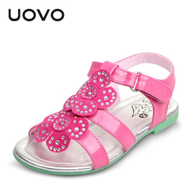 5b3e6f926d13 Toddler Girls Sandals Kids Rhinestone Shoes Flower UOVO Summer Bright  Glitter Princess Sandalias Menina EU25-