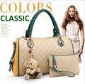 Novo 2015 Europestyle mulheres zipper de couro com painéis em relevo tote saco de luxo com o designer bolsa urso bolsa com franja 49