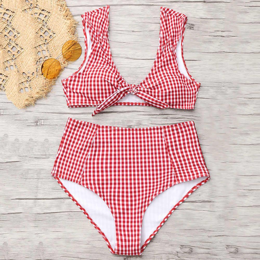 7488eb2442d2f ... ZAFUL 2019 Checked High Waisted Tie Front Plaid Bikini High Rise Cut  Bikini Checkered Bathing Suit ...