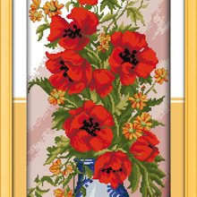 Poppy Celadon Vase Flowers Cotton Canvas DMC Cross Stitch Ki