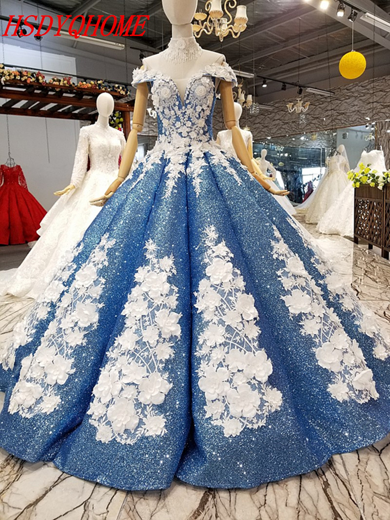 HSDYQHOME Amazing 3D Flower   Evening     dresses   Ball Gown   Evening   party   Dresses   Luxury Sequines Vestidos Prom gown