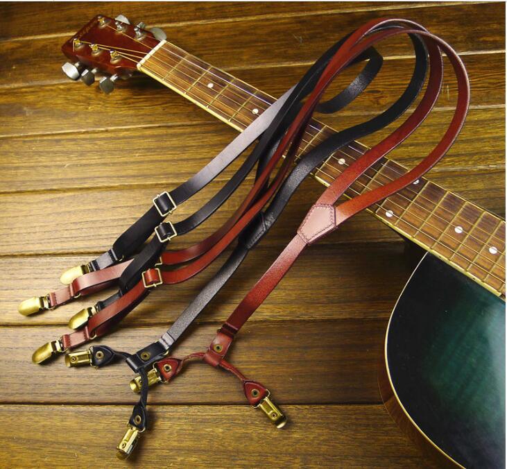 Bretelles femmes sangle 4 clips rétro cuir 1.5 cm largeur homme bretelles 105