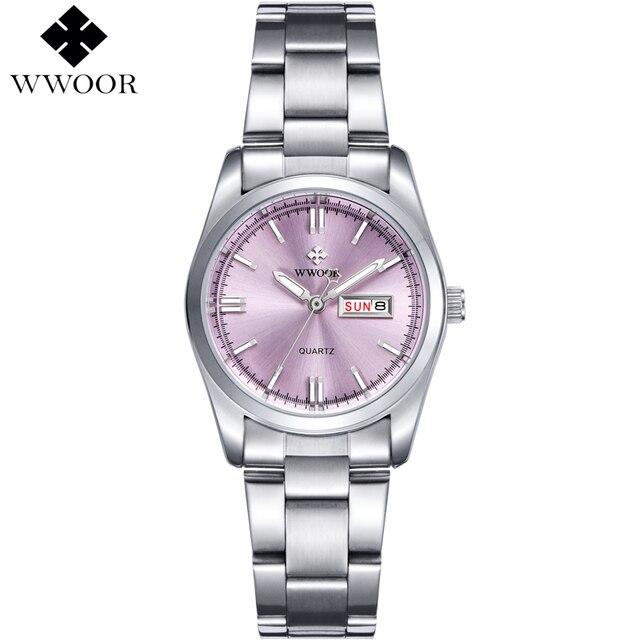 0f4376509 أعلى الفاخرة ووتش السيدات تاريخ الفولاذ المقاوم للصدأ ساعة اليد ساعة كوارتز  النساء الساعات الفضة Montre