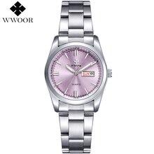 Top Reloj De Señoras de Lujo Fecha de Acero Inoxidable Reloj de Pulsera Reloj de Cuarzo Relojes de Las Mujeres de Plata Montre Femme Reloj Famosa Marca WWOOR