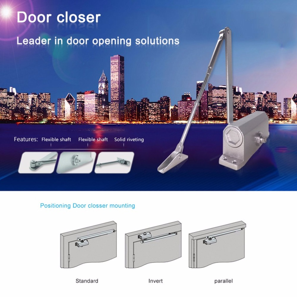 LESHPDurable 25-35KG Door Closer Automatic Hydraulic Arm Door Closer Mechanical Speed Control Access Control For Wood Door Iron 1pc automatic mounted spring door closer stainless steel adjustable surface door closer 160x96x20mm