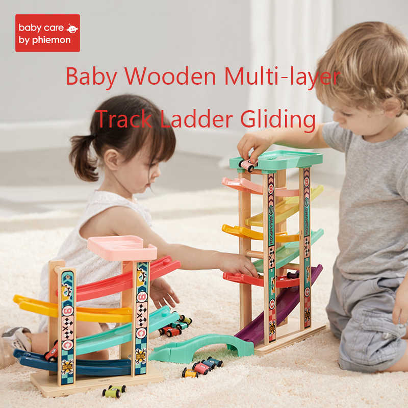 Baby Wooden Multi-layer Track Ladder Gliding Child Colorful Track Glider Inertia Car Educational Model Toy 4 or 6 Rail Slide Toy