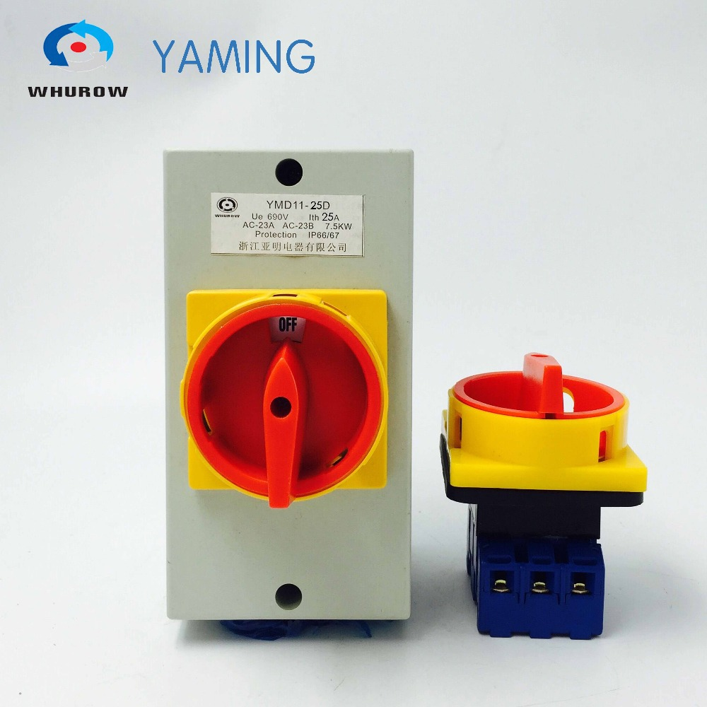Isolator switch with waterproof box 25A 3P/4P on-off padlock rotary changeover cam switch YMD11-25D 660v ui 10a ith 8 terminals rotary cam universal changeover combination switch