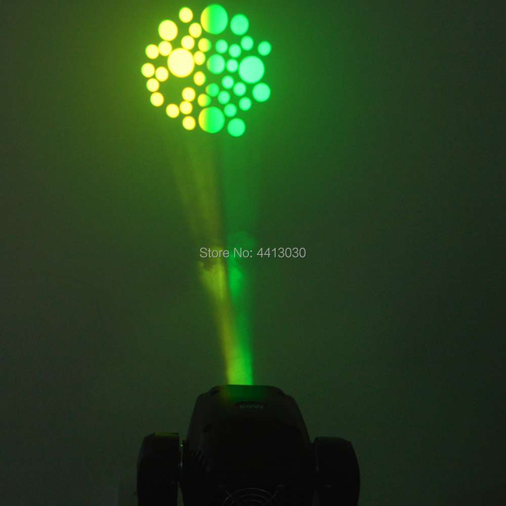 Mini lumière principale mobile de la tache 60W LED avec la plaque de Gobos et la plaque de couleur, Mini lumière principale mobile de l'intense luminosité 60W LED DMX512 - 4
