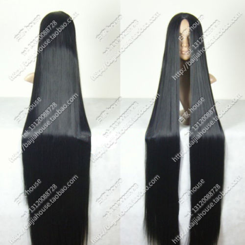 black long straight hair 60inch 150cm 1.5m center part bang cosplay wig-in Jewelry Packaging & Display from Jewelry & Accessories