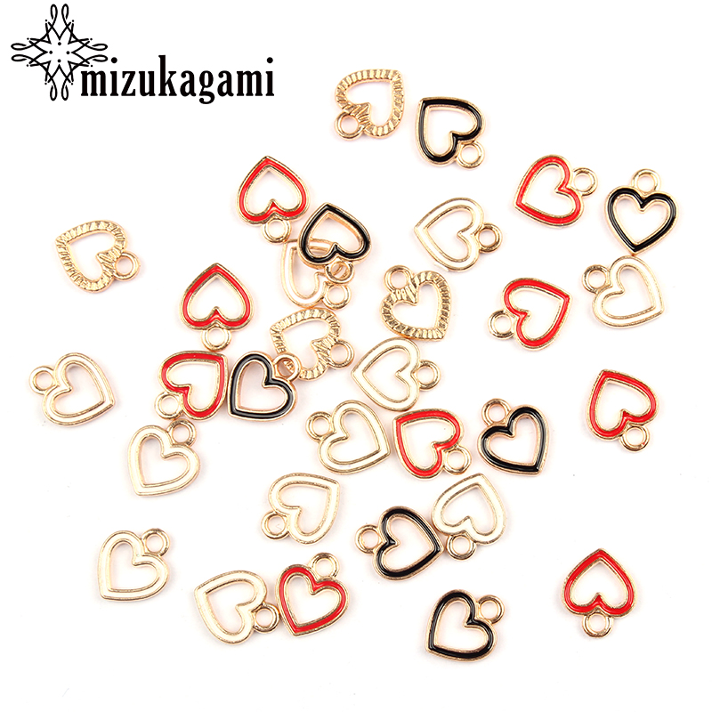 50pcs/lot Gold Zinc Alloy Charms Enamel Mini Sweet Heart Hollow Charms For DIY Necklaces Bracelets Jewelry Making Accessories(China)