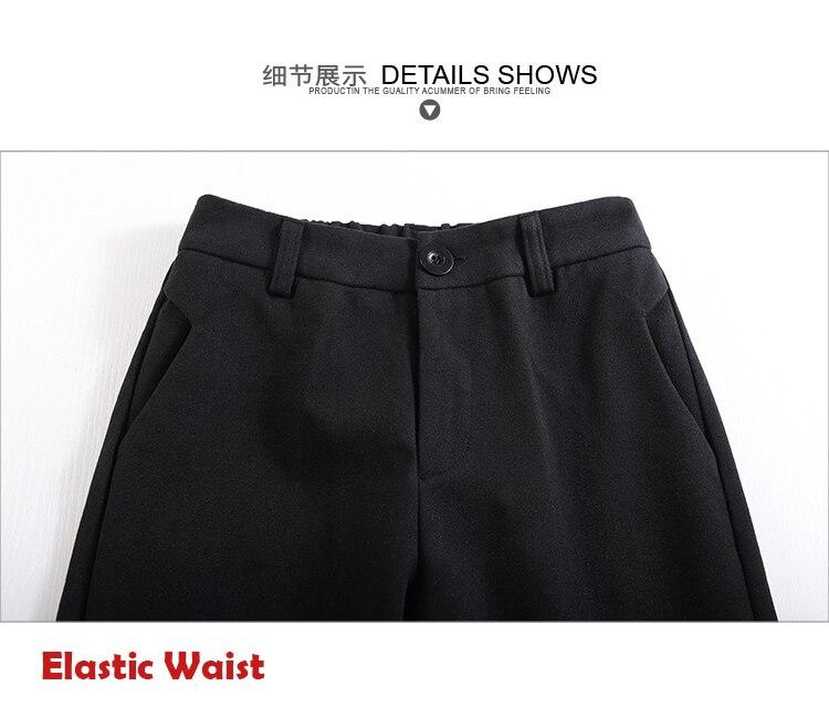 19 Autumn New Women Elastic Woolen Pant Female Plus Size Casual Trousers Black/Gray Harem Pants Winter Wool Ankle-Length Pants 43
