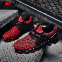 New Men Flying Weaving Ultralight Wear Resistant Blade Running Shoes Fashion Leisure Cushioning Sewing Thread Sneakers