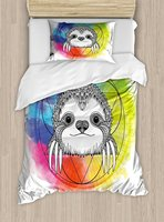 Humor Duvet Cover Set Rainbow Colored Backdrop Image with Sketchy Happy Smiling Cartoon Sloth Art Print 4 Piece Bedding Set