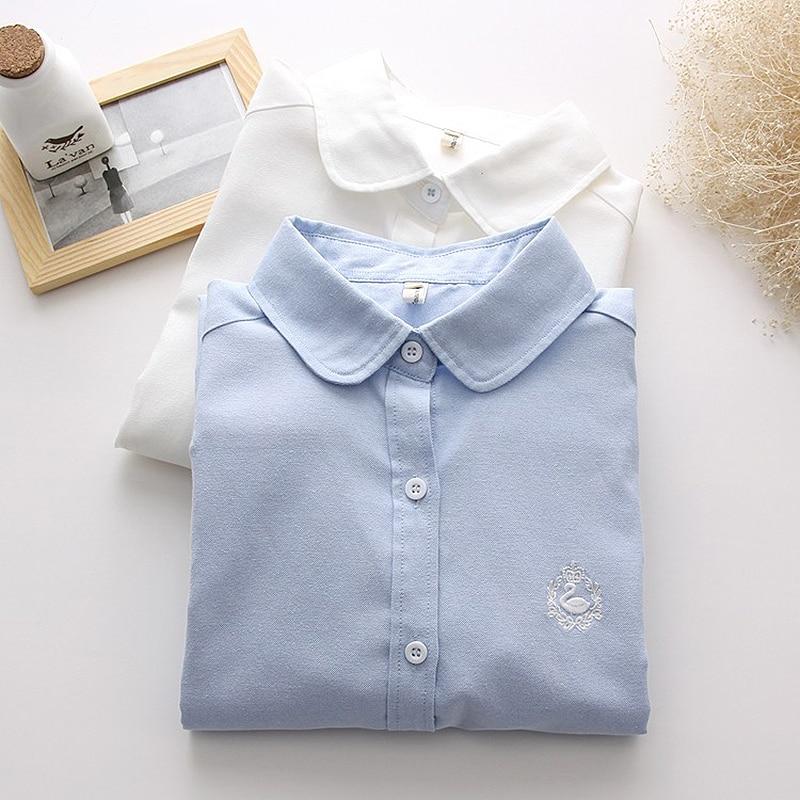 1f2b1be102 2016 novo cisne bordado Mulheres blusa da moda Primavera elegantes blusas  brancas do vintage camisa de manga longa desgaste do trabalho magro tops ...