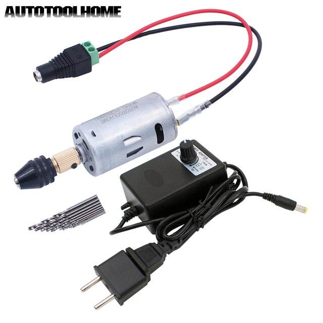 Universele 3 12V 1A Multi Elektrische Boor Set Mini Dc Motor 0.5 3.5 Mm M8 Boorkop twist Boren Eu/Us Power Supply Adapter