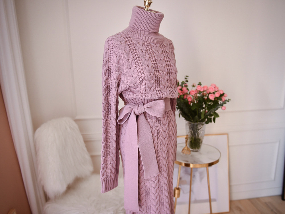 19 Winter Temperament Bursting Elegant Lace Waist Twist High Collar Knit Bottoming Sweater Dress dropshipping 8