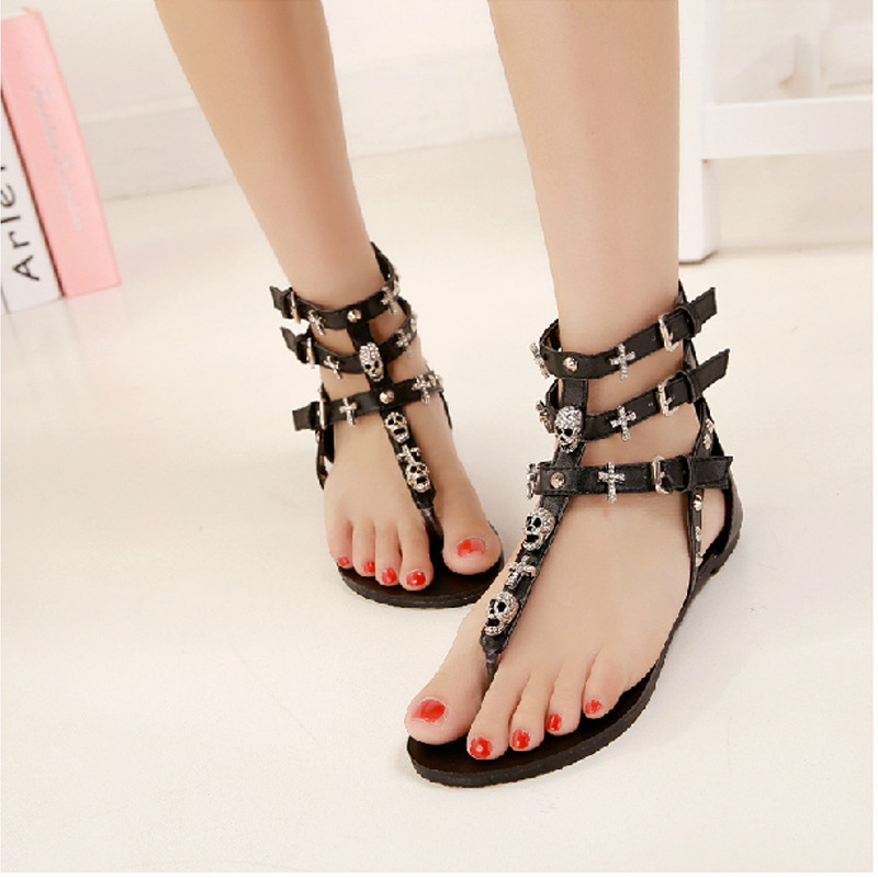 US $18.65 28% OFF|Roman style women sandals brand designer crystal skull gladiator sandals women T strap flip flops crystal cross sandalias mujer in