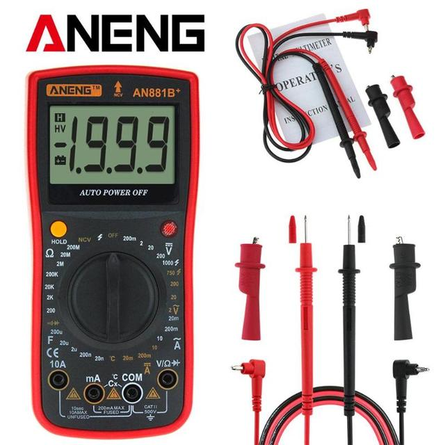 ANENG Digital Multimeter Supports NCV AC DC Auto Meter Tester Temprature Tester with Crocodile Clips Electrical Instruments