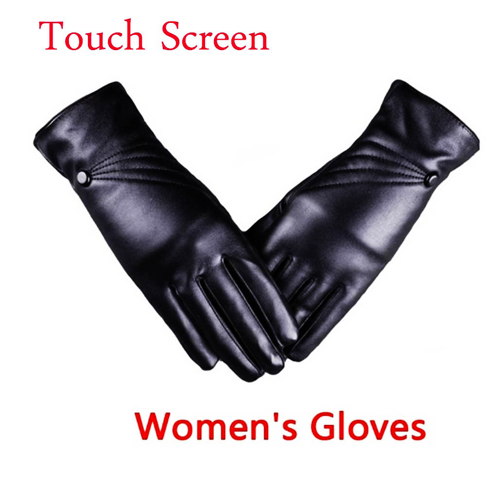 Mode Frauen Winter Leder Motorrad Voll Finger Touch Screen Warme Handschuhe Touch Bildschirm Fahren handschuhe und warm im winter image