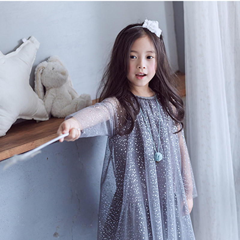 Autumn Girl Dress 2016  Princess Kids Dresses for Girls Clothes Mesh Star Kids Fashion Dress Solid Girls Clothing 2-10y for Girs