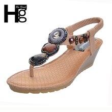 HEE GRAN 2017 de Bohemia Wedge Sandalias de Las Mujeres Del Verano de La Vendimia Del Rhinestone Mujer Flip Flops Beach Women Shoes Chaussure XWZ415
