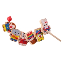 Wooden Toys Diy Toy Cartoon Animal Threading Beads Montessori Educational For Kids