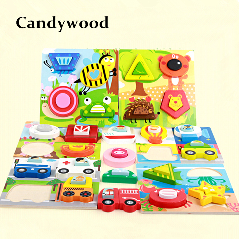 Kids Colorful Farm Animal Transportation 3D Puzzle Wood Early Educational Toys Jigsaw Puzzle