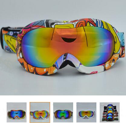 Prix pour Enfant snowboard lunettes Sport Coloré Escalade et Ski Lunettes Double Anti-brouillard UV 400 Large Vue Polarisées Ski lunettes