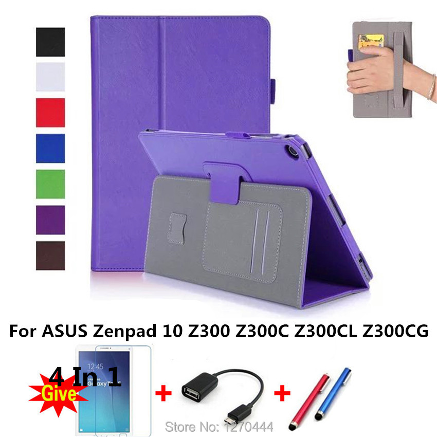 Case for zenpad 10 z300, Slim Magnetic Premium Stand Cover for ASUS Zenpad 10 Z300C Z301MFL Z300CG With Hand Strap and Card Slot for asus zenpad s 8 0 z580c case multiple viewing angles ultra compact slim card holder hand strap stand case cover