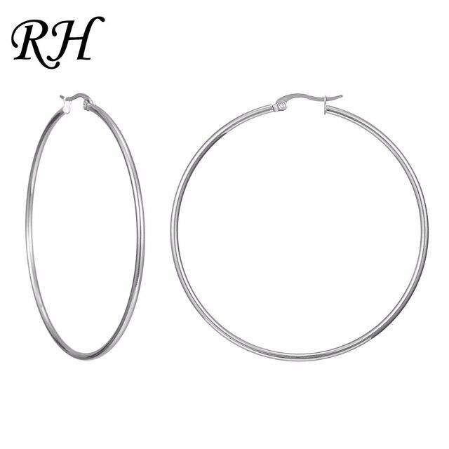 Big Huge Smooth Circle Hoop Earrings For Women Stainless Steel Hyperbole Earring