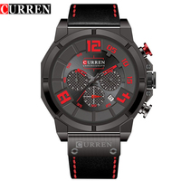 NEW Curren Watches Men S Brand Luxury Military Analog Quartz Watch Waterproof Leather Black Clock Male