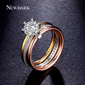 NEWBARK Engagement Wedding Infinity Stacking Ring Three Round Luxury 7mm Big 1.25ct CZ Colorful 6 Prong Bijoux Femme Top Quality