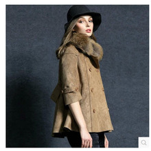 2014 New Genuine Accoon Fur Collar Women Winter Suede Short Coat Thick Double-Breasted Woolen Jacket Three Quarter Sleeves S1019