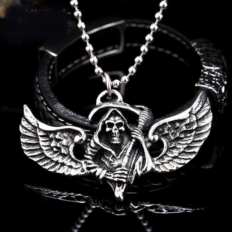 651b2d16d0dc1 Stainless Steel Necklace Feather Wing Skull Pendant Men Punk The Death Personality  Jewelry