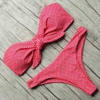 Conjunto de Bikini de Bandeau sólido 2019 traje de baño Sexy para mujer Bikini Tanga brasileño traje de baño top de baño para mujer ropa de baño