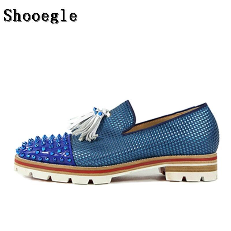 ᗐShooegle hombres azul patchwork borla Zapatos espigas tachonado ...
