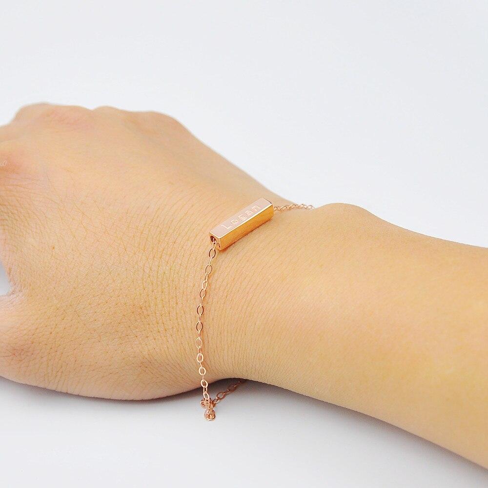 Großhandel Rose Gold 3D Bar Armband Gravieren Worten ...