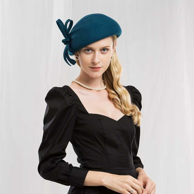 قبعة مصنوعة من الصوف المرأة قبعة صغيرة مستديرة القبعات الأسود السيدات خمر كوكتيل أزياء الزفاف ديربي فيدورا